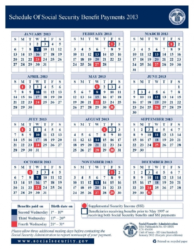2013 Social Security Disability Amp Ssi Benefits Pay Calendar