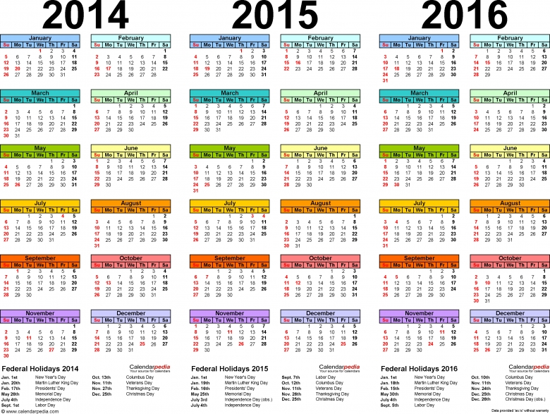 201420152016 Calendar 4 Three Year Printable Pdf Calendars