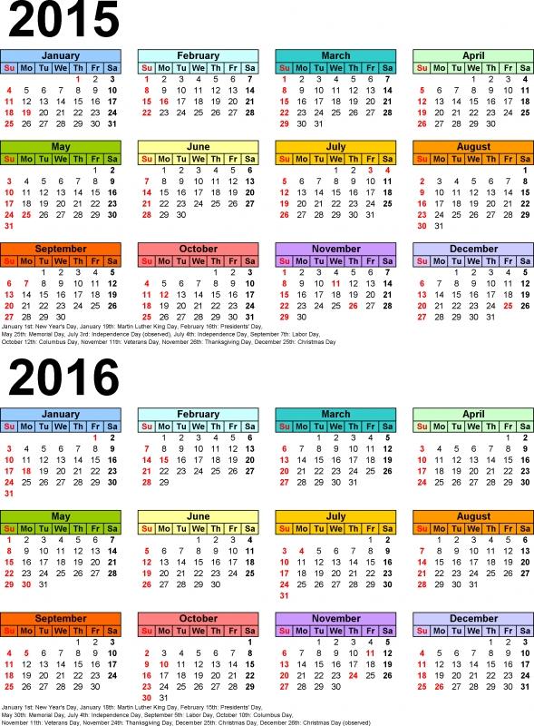 2015 2016 Calendar Printable When Is Calendar