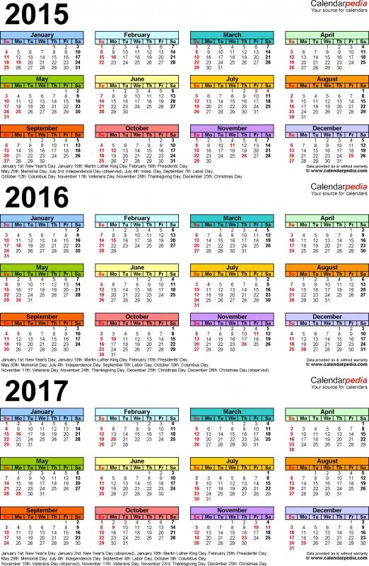 201520162017 Calendar 4 Three Year Printable Pdf Calendars