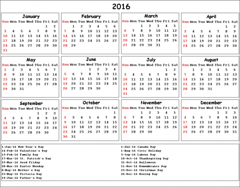 2016 Calendar With Catholic Christian Holidays