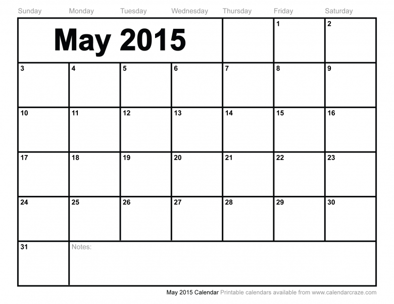 5 Best Images Of Printable Monthly Calendar May 2015 Free Large