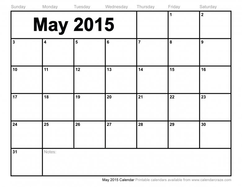 Large Monthly Calendar : Free printable may large block calendar