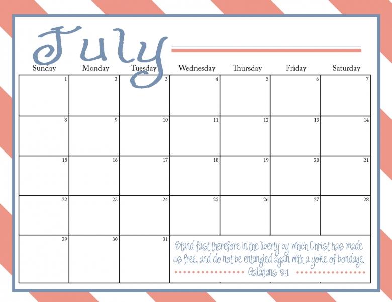 7 Best Images Of July Printable Calendar Free Large Printable