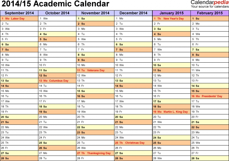 Academic Calendars 20142015 As Free Printable Pdf Templates