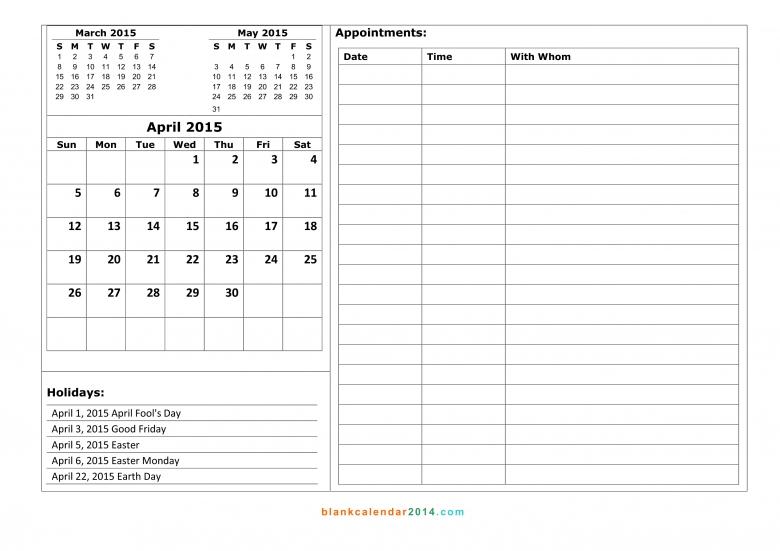 April 2015 Calendar Free Printable Calendar Templates