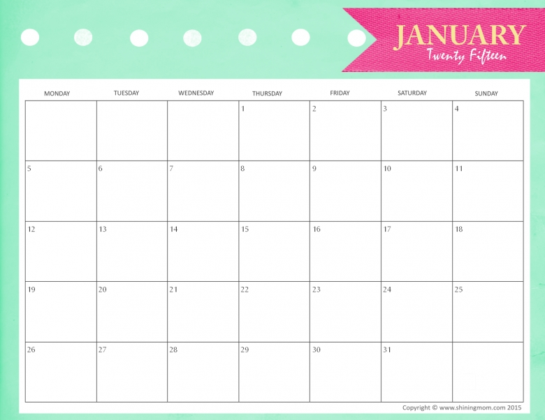 Best Photos Of Free Printable Monthly Calendar January 2015 Free