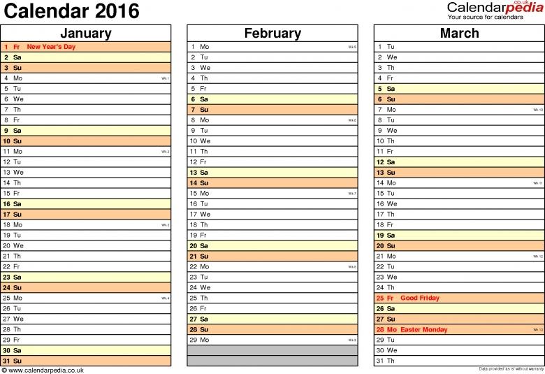 Calendar 2016 Uk 16 Free Printable Pdf Templates