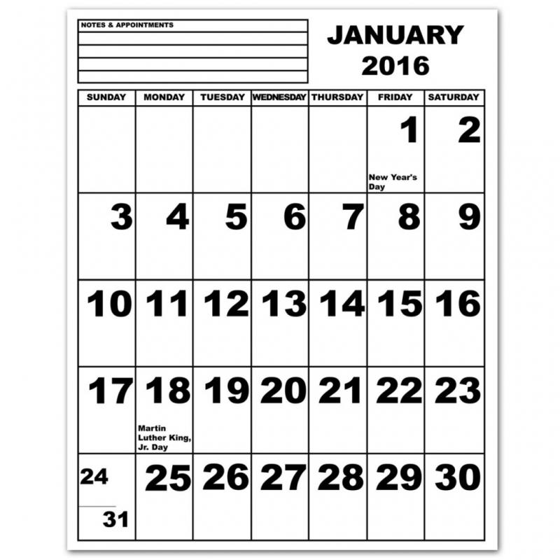 Extra Large Monthly Printable Calendar New Calendar 2016