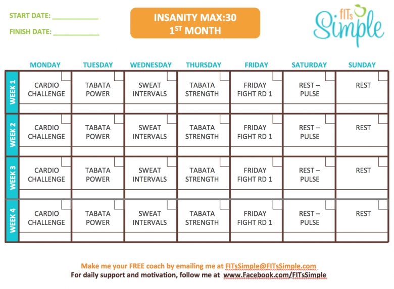 Insanity Max 30 Workout Calendar Free Download