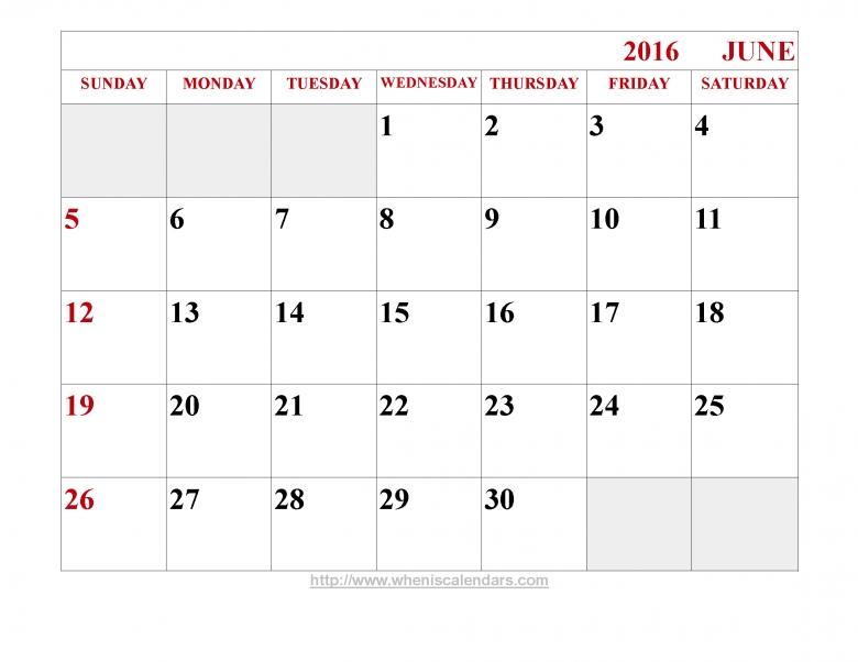 June 2016 Calendar Printable Template Word Pdf And Image