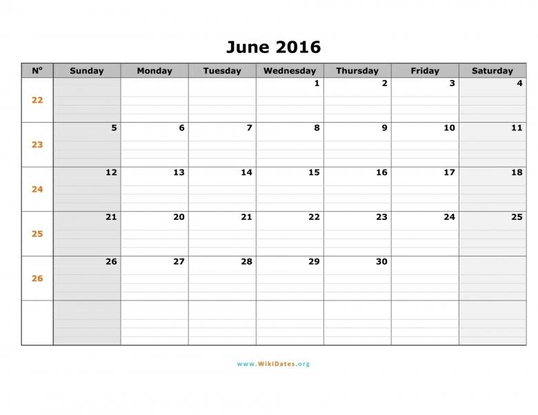 June 2016 Calendar Wikidates