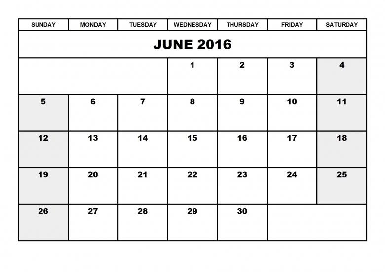 June 2016 Printable Calendar Blank Templates Printable