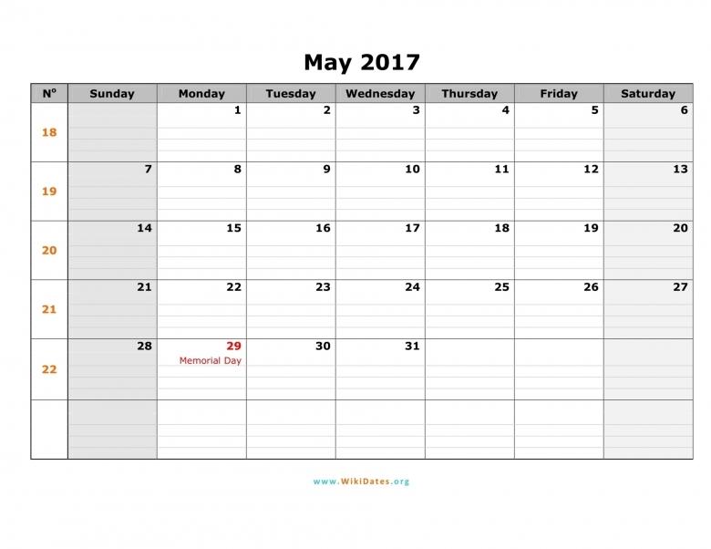 May 2017 Calendar Editable Free Calendar 2017