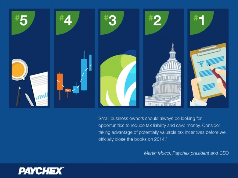 Paychex Offers Five Tax Tips Small Business Owners Can Benefit