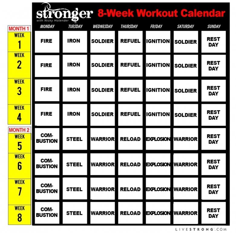 Printable 8 Week Workout Calendar And 10 Free Workout Videos