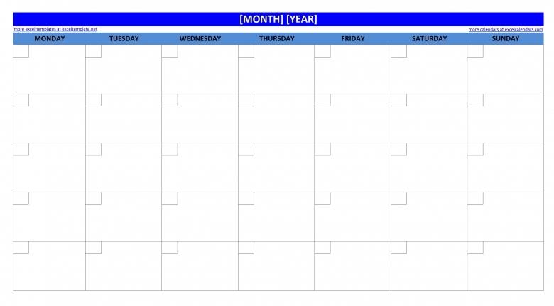 Printable Blank Monthly Calendar Excel Templates3abry