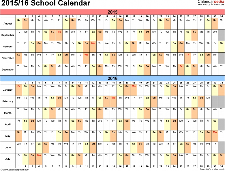 School Calendars 20152016 As Free Printable Word Templates