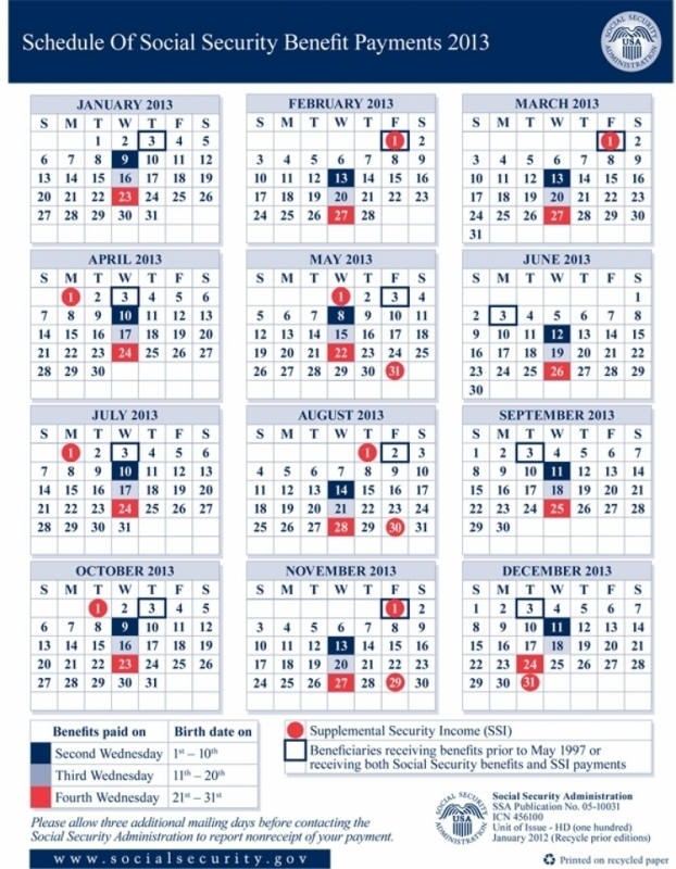Social Security Payment Calendar 2016 Calendar Printable 2016