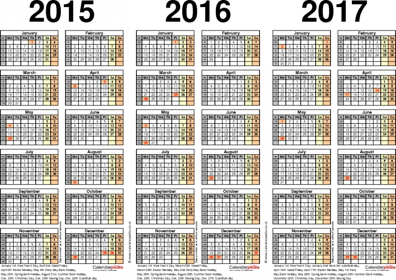 Three Year Calendars For 2015 2016 Amp 2017 Uk For Pdf