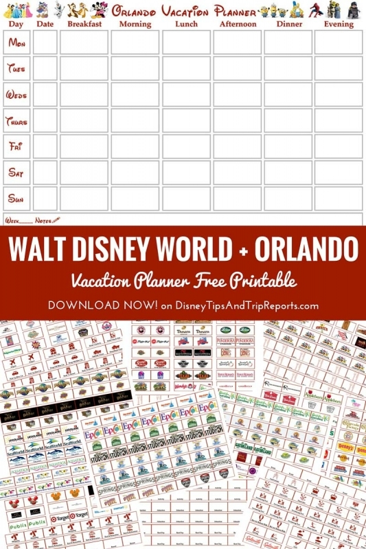 Walt Disney World Orlando Vacation Planner Free Printable