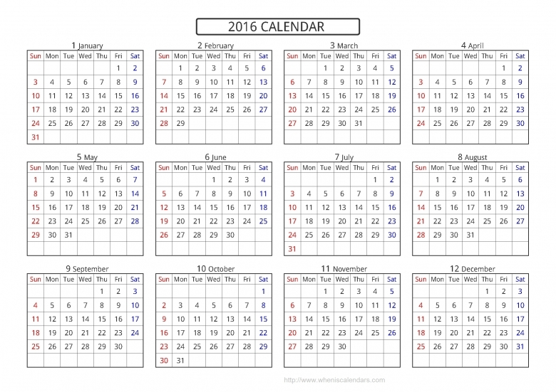 Yearly Calendar 2016 Printable Free New Calendar 2016