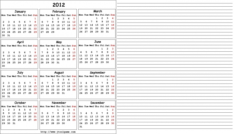 2012 Calendar Printable Calendar 2012 Calendar In Multiple  xjb
