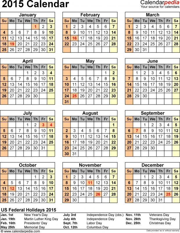 2015 Calendar With Federal Holidays Amp Excelpdfword Templates3abry