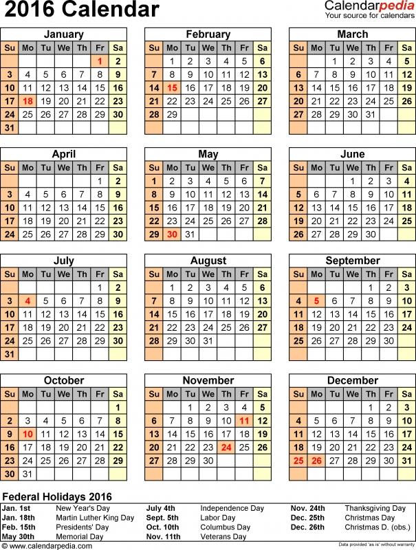 2016 Calendar Download 16 Free Printable Excel Templates Xls3abry
