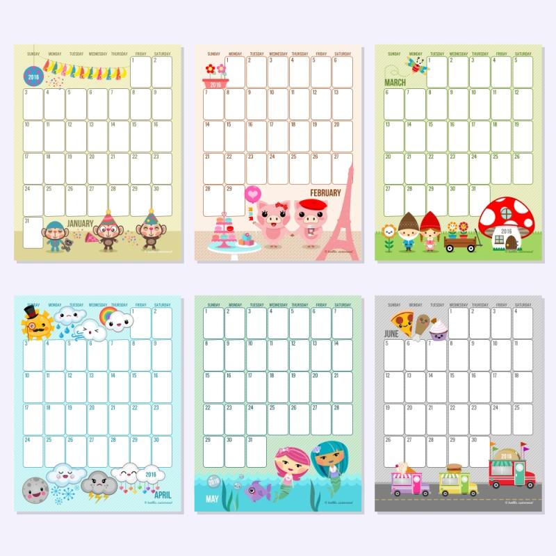 2016 Text Editable Monthly Calendars Hello Cuteness  xjb