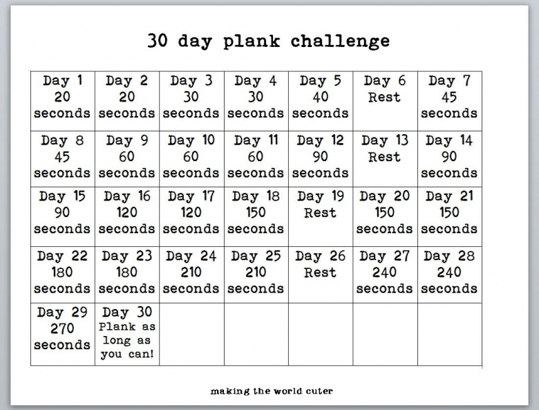 Printable 30 Day Shred3abry |size: 780 X 576 30 Day Plank Challenge ...