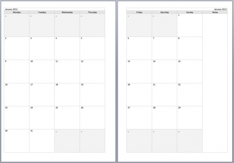 Two Month Calendar Template  BesikEightyCo