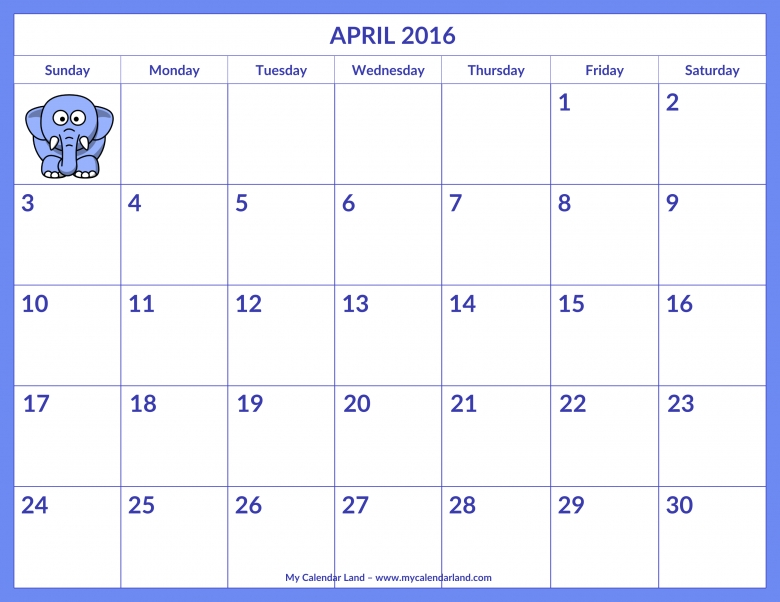 April 2016 Calendar My Calendar Land 89uj