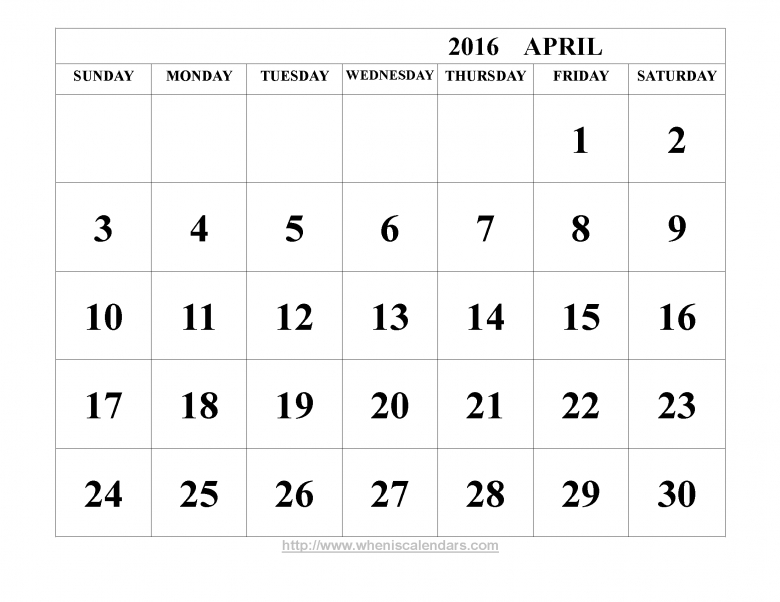 April 2016 Calendar Printable Template Word Pdf Image 89uj