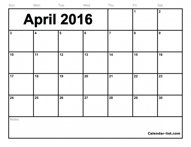 April 2016 Calendar Vertex  xjb