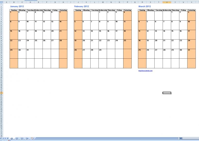 Best Photos Of Printable Quarterly Calendar Templates Free  xjb