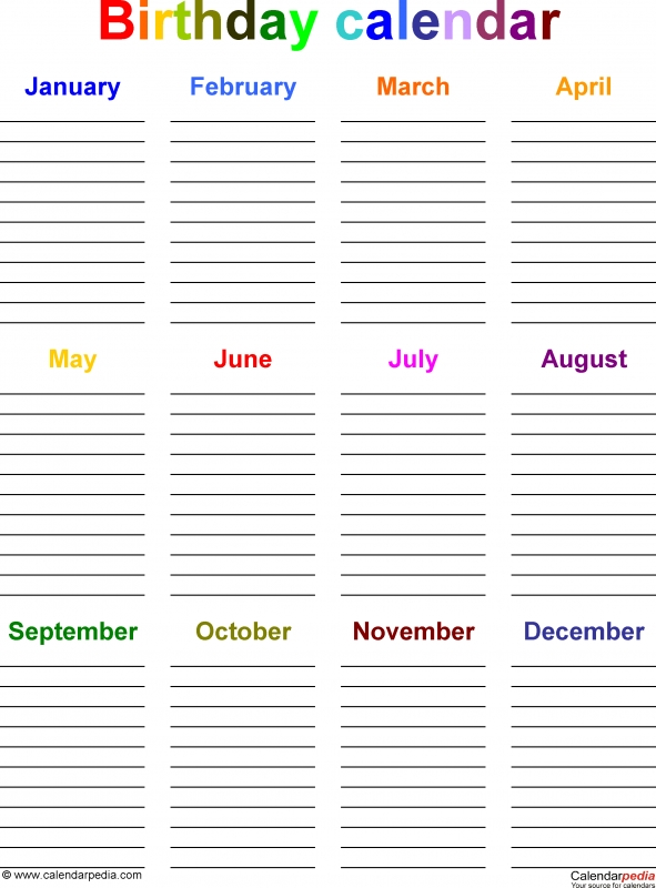 Birthday Calendars 7 Free Printable Word Templates 89uj