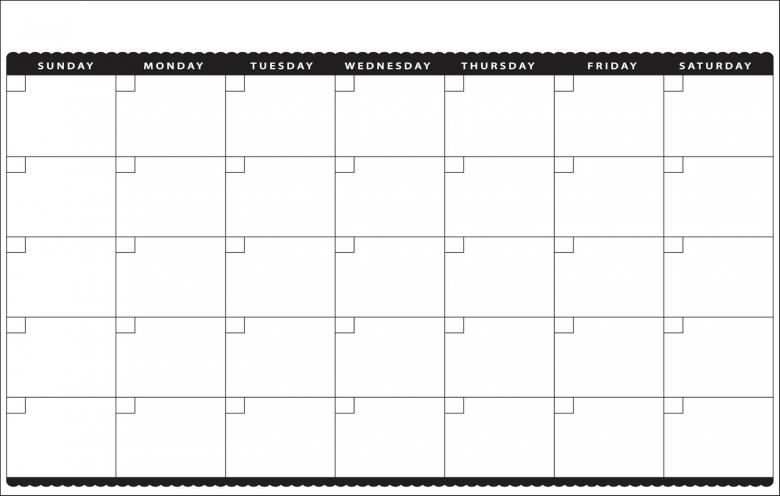 Blank Monthly Template Calendar :-Free Calendar Template