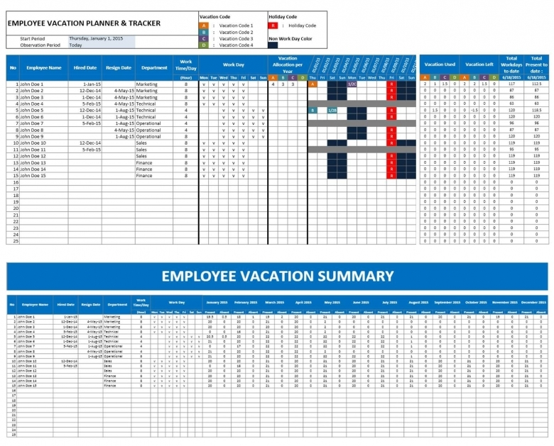 Excel Vacation Tracker Archives Excel Templates3abry