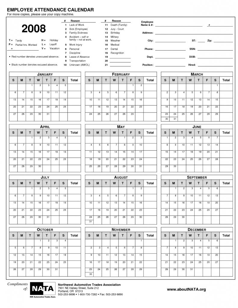 Free Printable Employee Attendance Calendar Template 2016 89uj