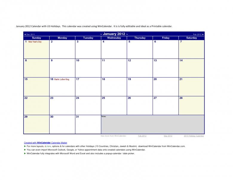 Groovingtiws 2011 Year Calendar With Us Holidays  xjb