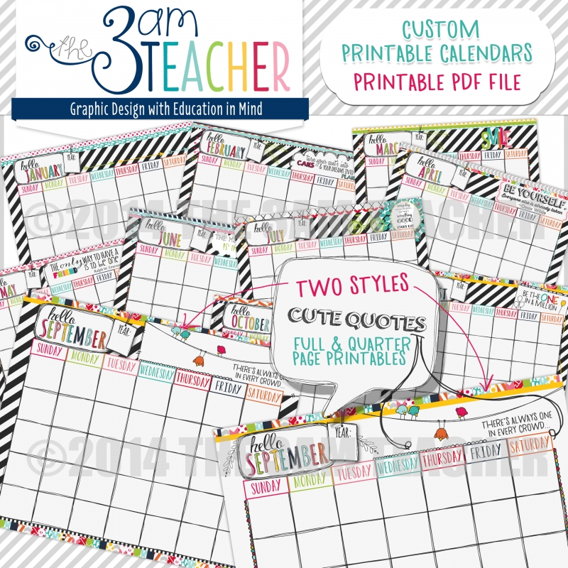 Hello Planner Illustrated Printable Calendar Pages For Any Year  Xjb