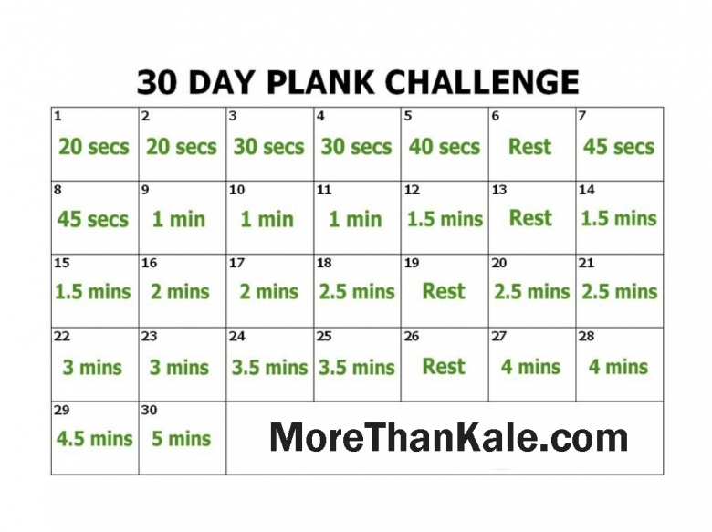 Innovative 30 Day Plank Challenge Printable Calendar More Than Kale3abry