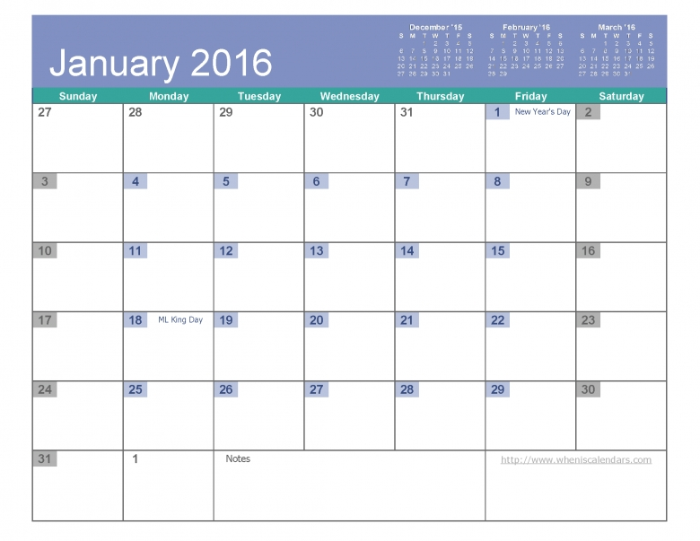 January 2016 Calendar Free Printable 6 Templates Pdf Excel When 89uj