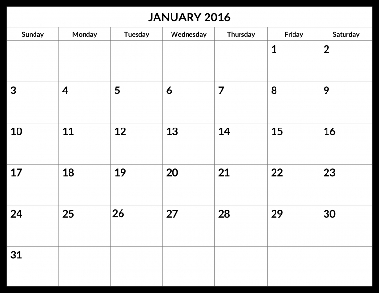 January 2016 Calendar My Calendar Land  xjb