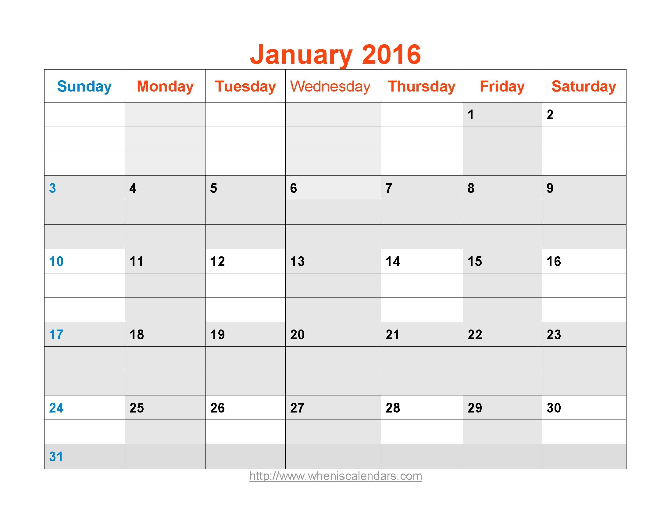January 2016 Calendar Printable Template Word Pdf Image 89uj