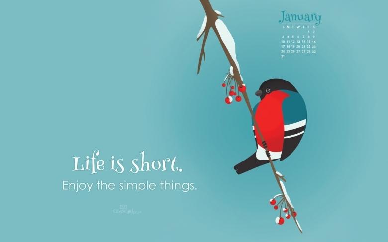 January 2016 Life Is Short Desktop Calendar Free January Wallpaper3abry