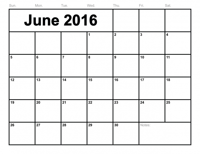 June 2016 Calendar Printable Template 8 Templates3abry