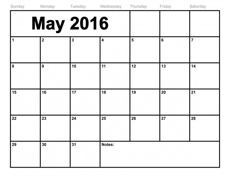 May 2016 Calendar Printable Template 8 Templates 89uj