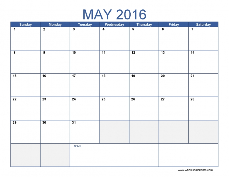 May 2016 Calendar Template Monthly Calendar 2016 Pdf Excel 89uj